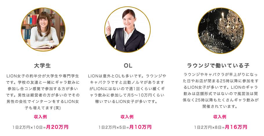 LIONプロジェクトの収入例